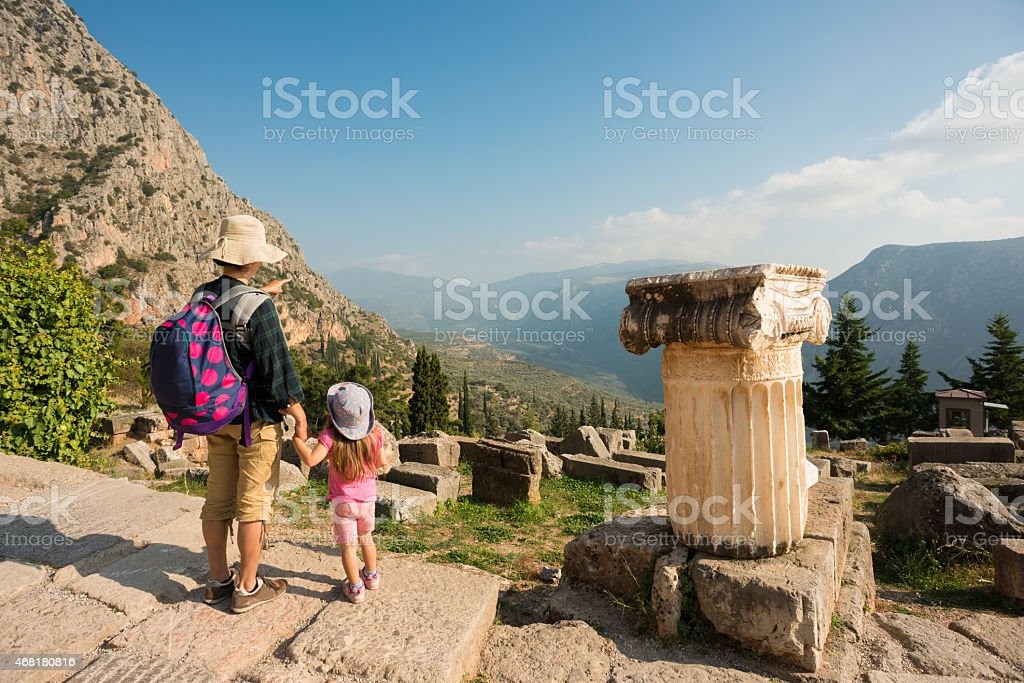 Mother and daughters at the Delphi Ruins stock photo