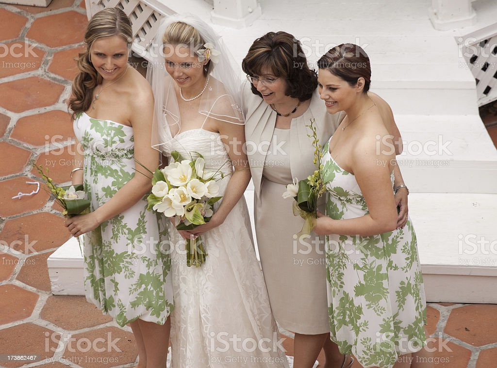 Mother and Daughters at Wedding stock photo
