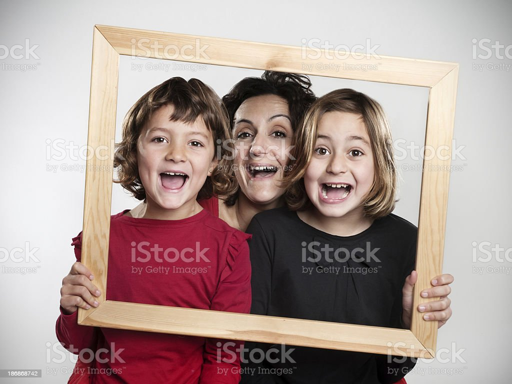 mother and daughters framed stock photo