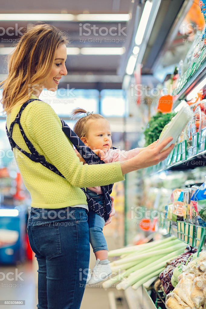 Mother And Her Baby Daughter Groceries Shopping. stock photo