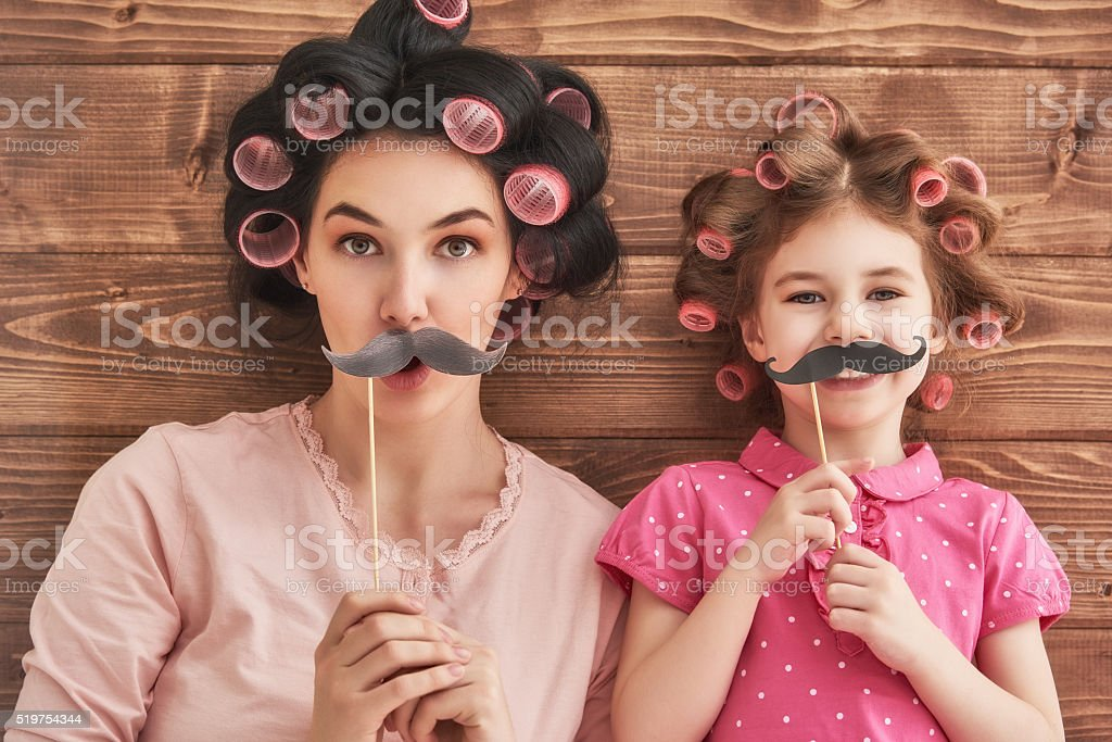 Mother and her child daughter stock photo