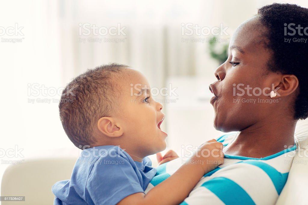 Mother And Her Little Boy Having Fun. stock photo