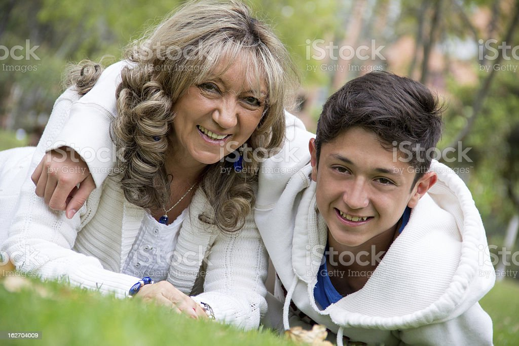Mother and her son at the park royalty-free stock photo