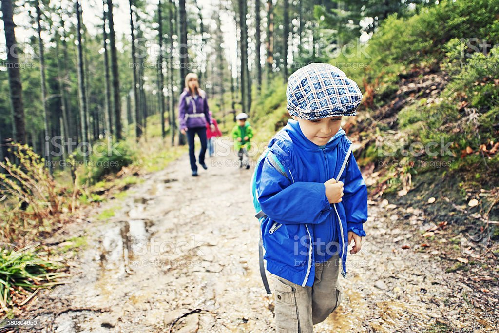 Mother and kids hiking royalty-free stock photo