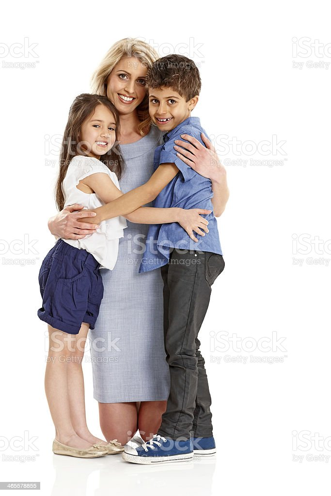 Mother and kids hugging each other royalty-free stock photo