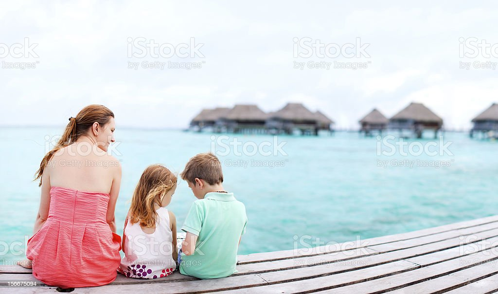 Mother and kids on vacation royalty-free stock photo