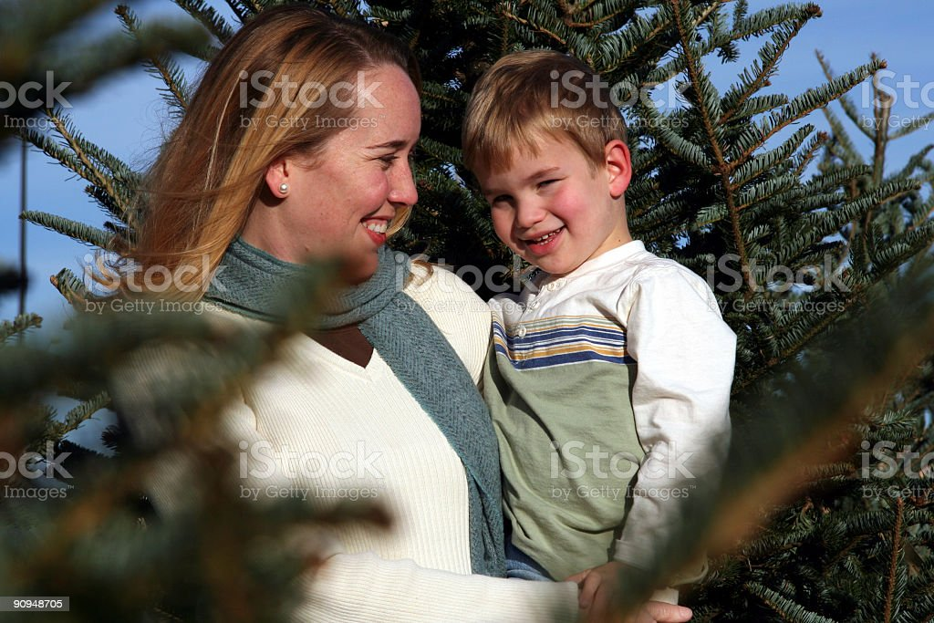 Mother and Son amongst trees stock photo