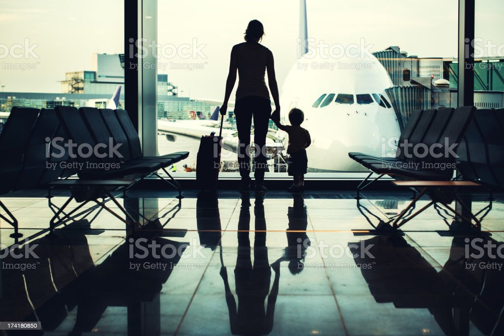 Mother and Son at Airport stock photo