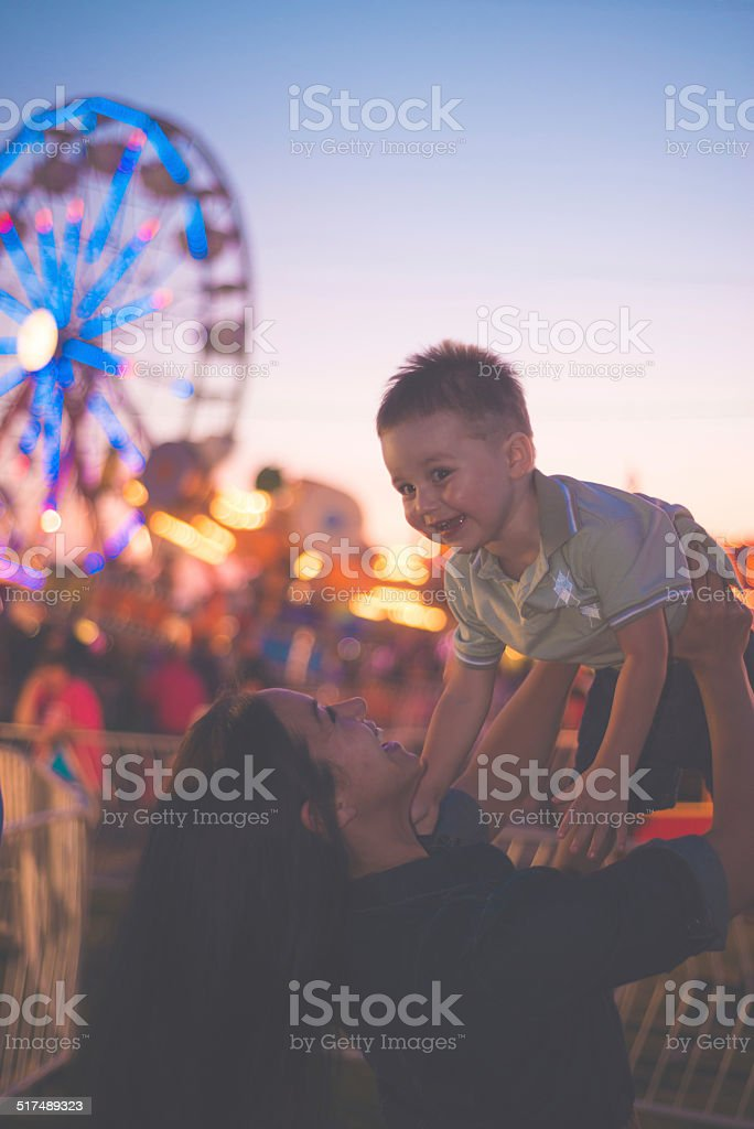Mother and Son at the Fair stock photo