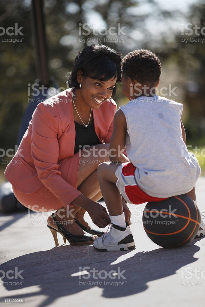 Mother and Son Basketball stock photo