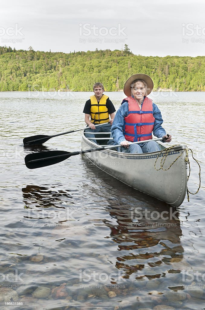 Mother and Son Canoeing royalty-free stock photo