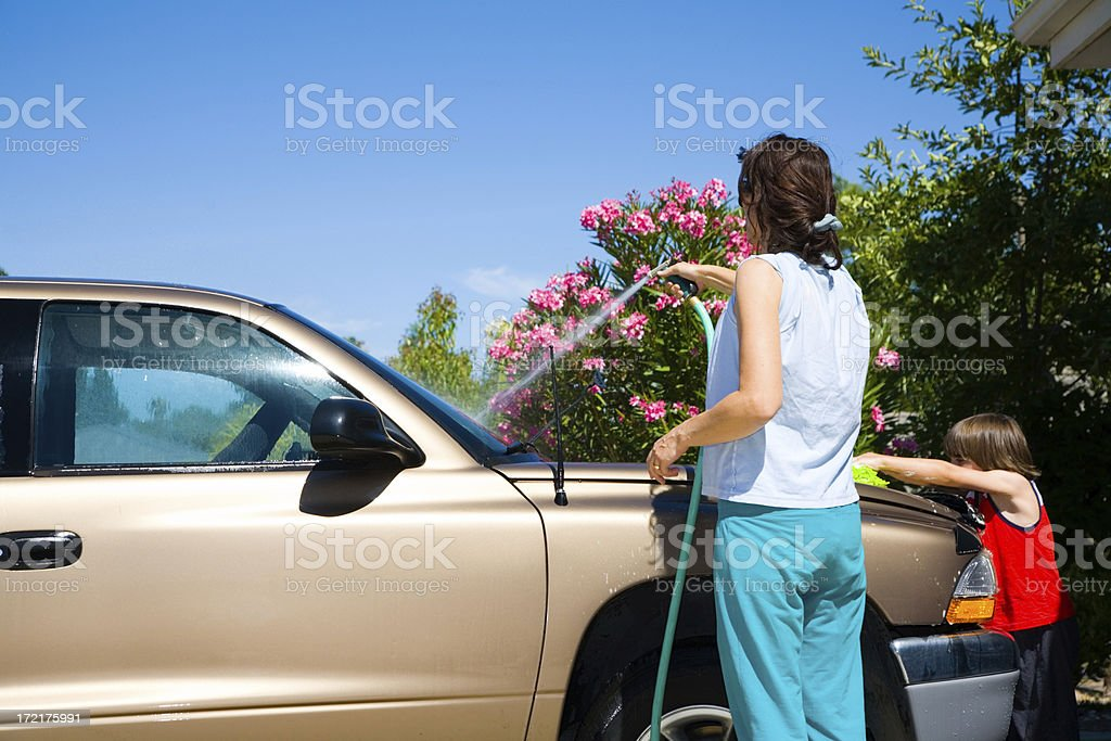 Mother And Son Car Wash royalty-free stock photo