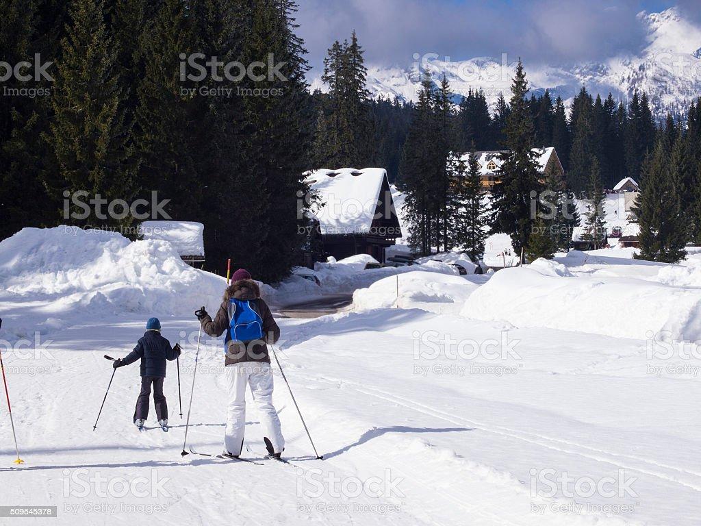 Mother and son cross country skiing on  Pokljuka stock photo