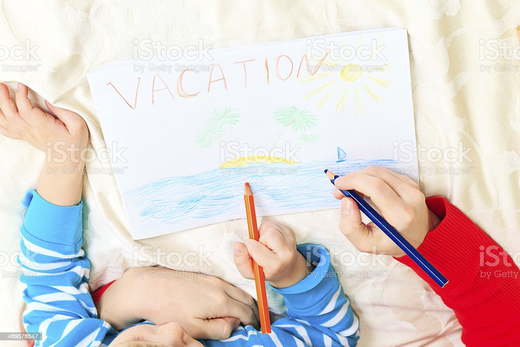 mother and son drawing vacation royalty-free stock photo