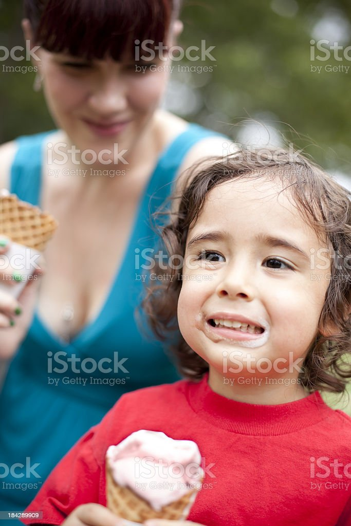 Mother and Son Eating Ice Cream royalty-free stock photo