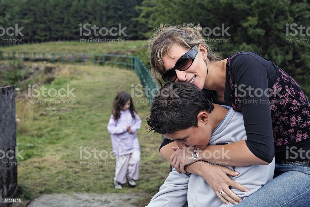 Mother and Son Enjoy Happy Moment in the Countryside-More below.. royalty-free stock photo