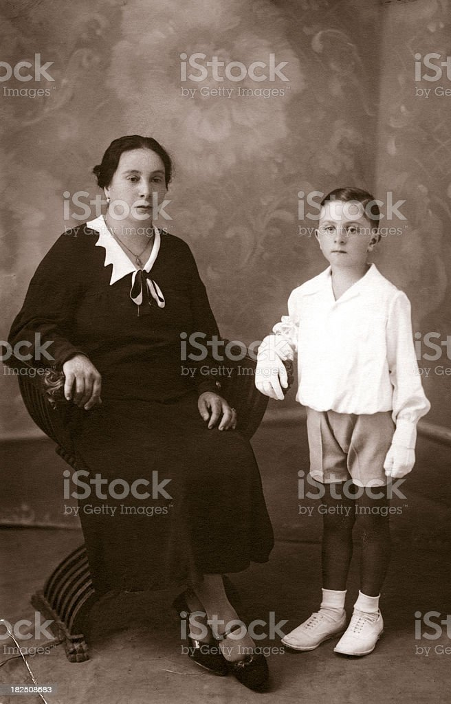 Mother and son in 1930 royalty-free stock photo