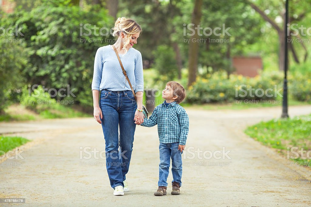 Mother and Son in a Park stock photo
