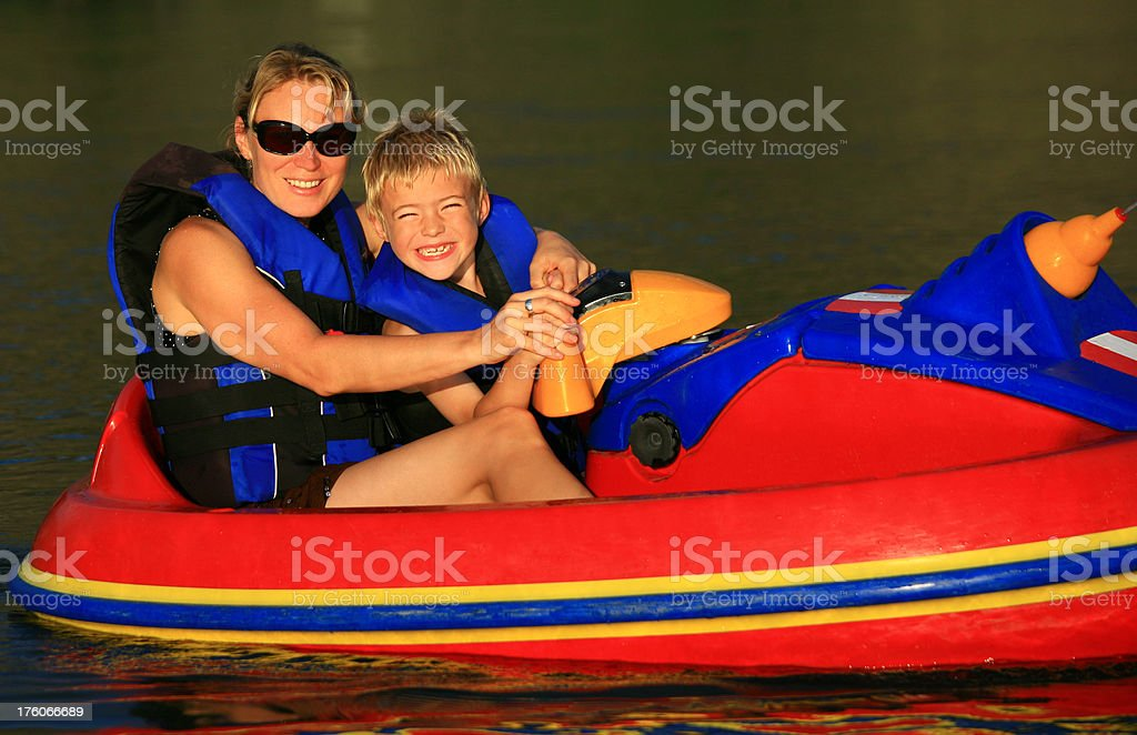 Mother and Son in a Recreational Boat stock photo