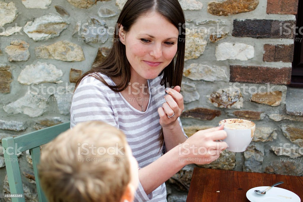 Mother and son in the cafe royalty-free stock photo