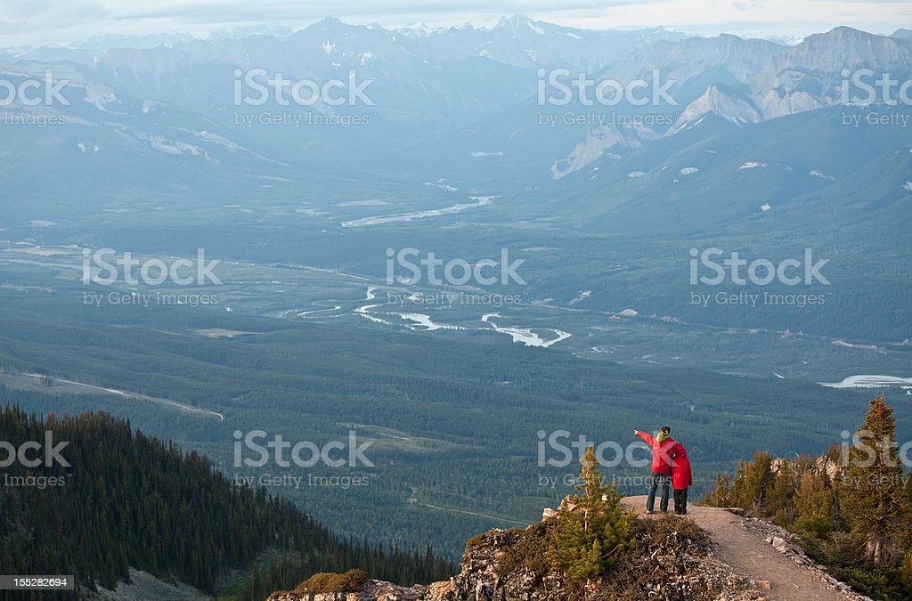 Mother and Son on a Mountain royalty-free stock photo