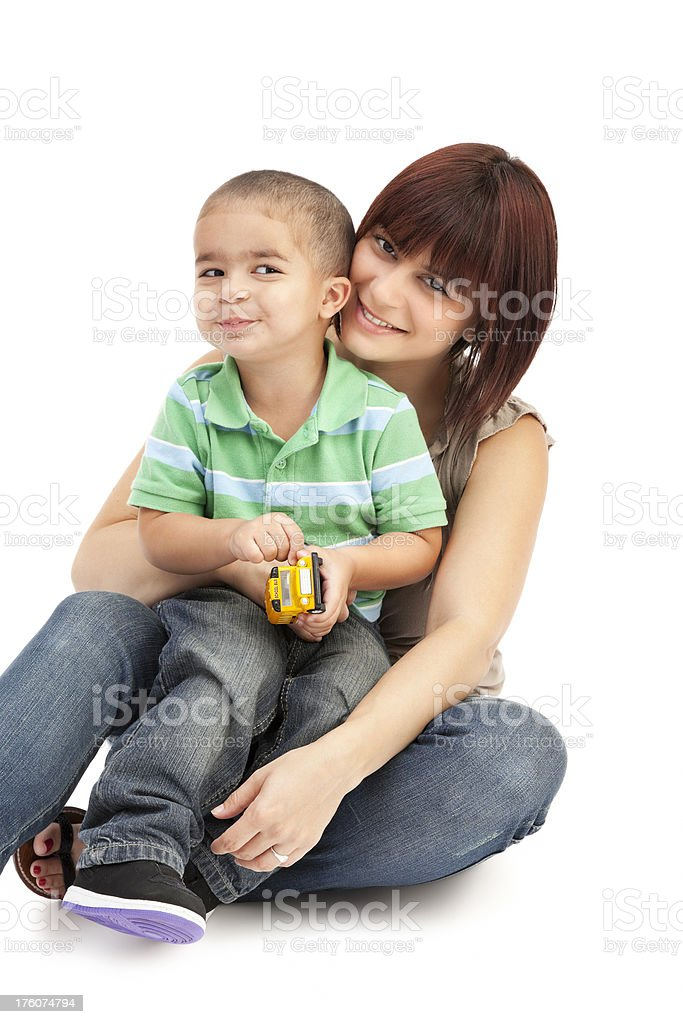 Mother and Son on White royalty-free stock photo