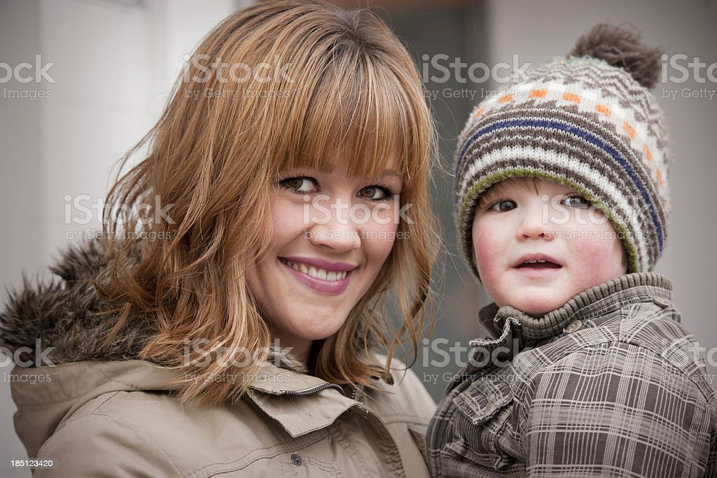 Mother and son outdoors royalty-free stock photo