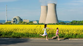 Mother and son playing at Nuclear Power Plant