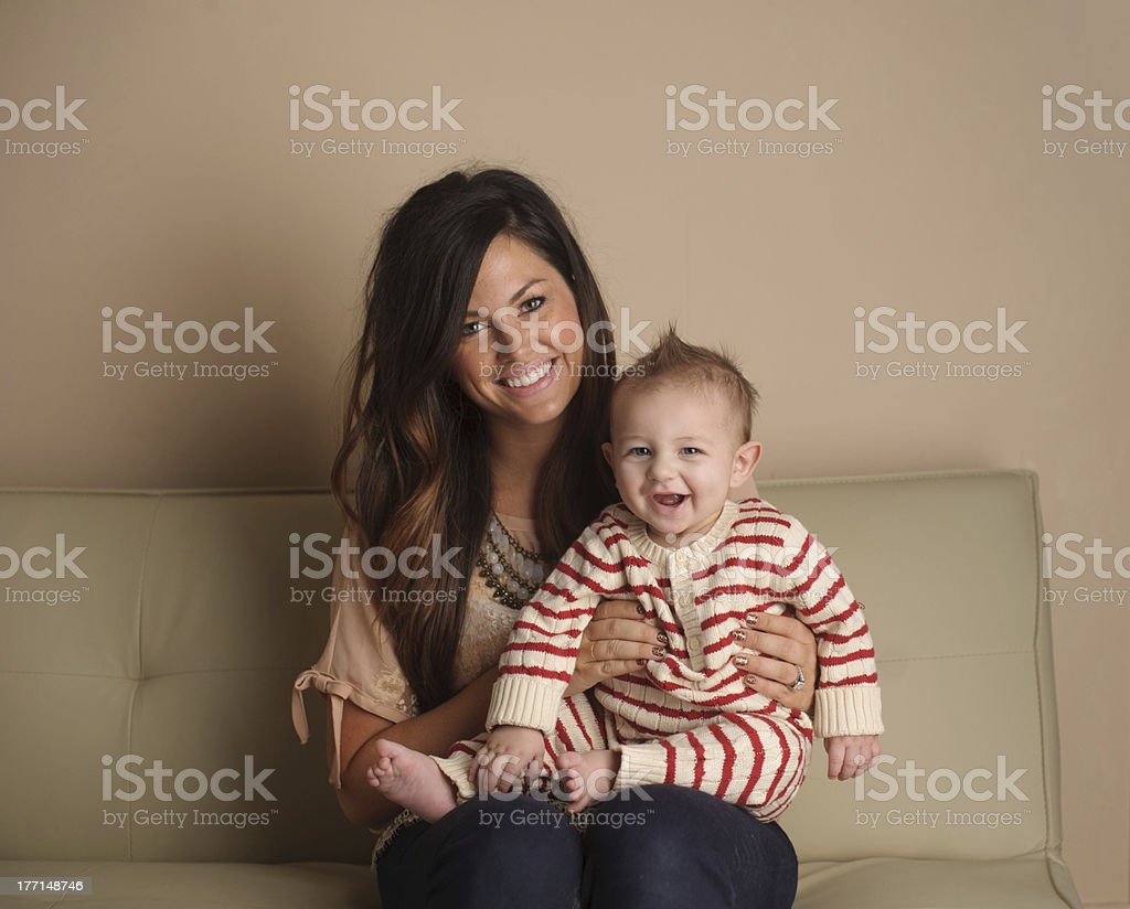 Mother and Son Sitting on Couch royalty-free stock photo