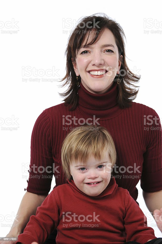 Mother and son smiling stock photo