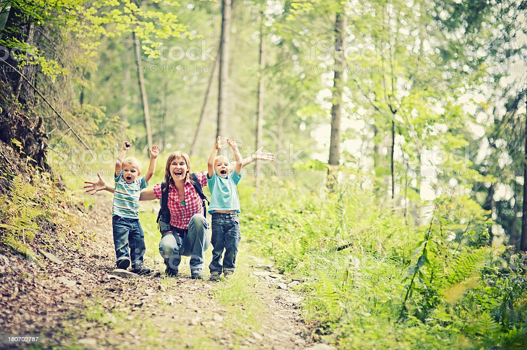 Mother and sons hiking royalty-free stock photo
