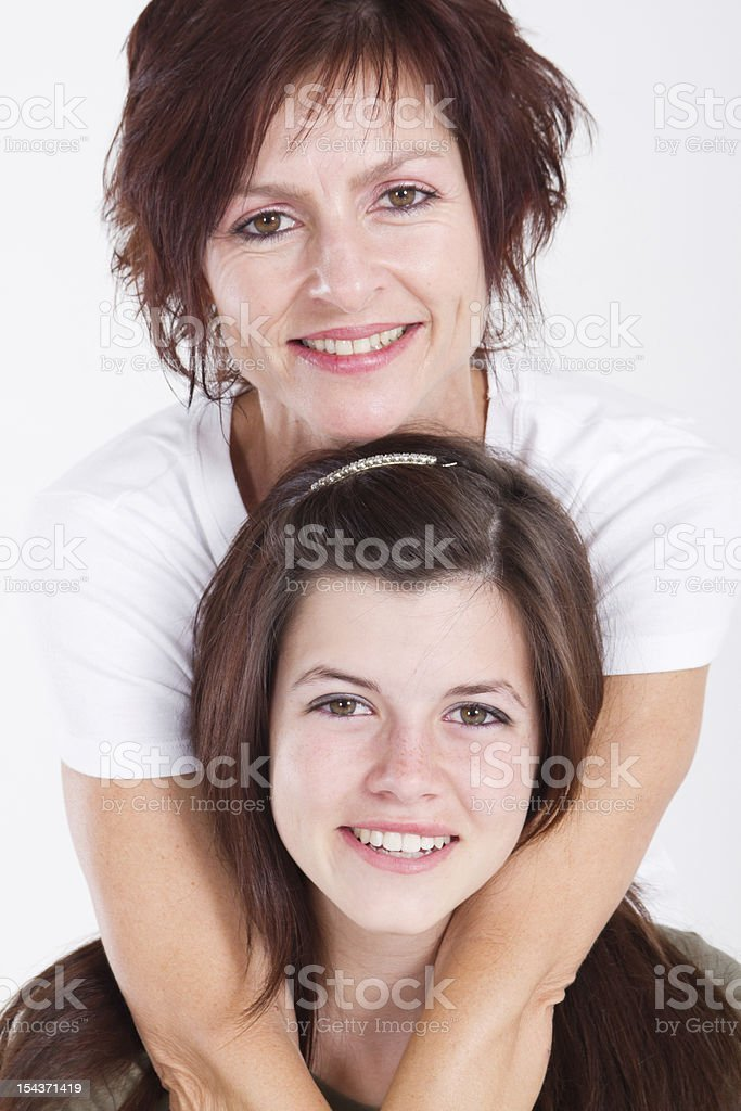 Mother and teen daughter royalty-free stock photo