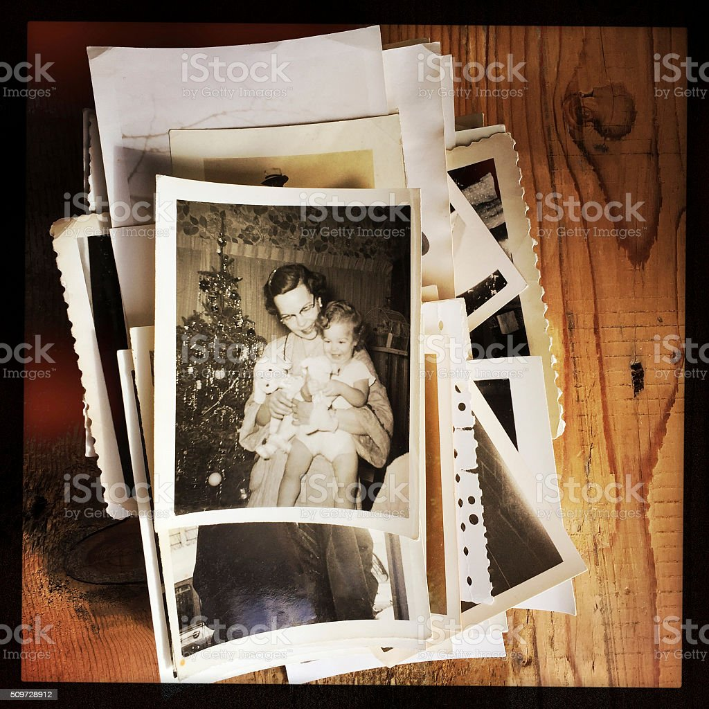 Mother and Toddler Girl on Christmas Morning stock photo