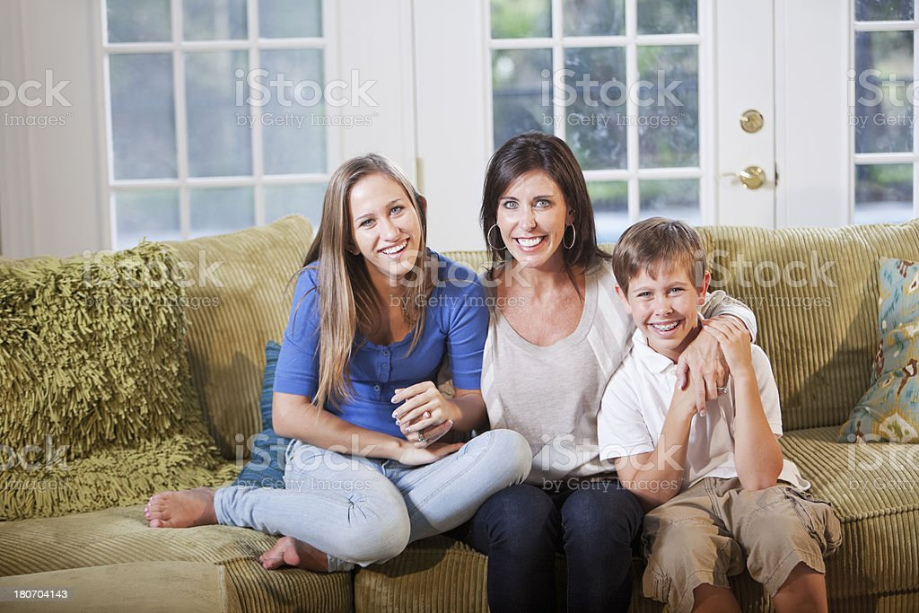 Mother and two children stock photo