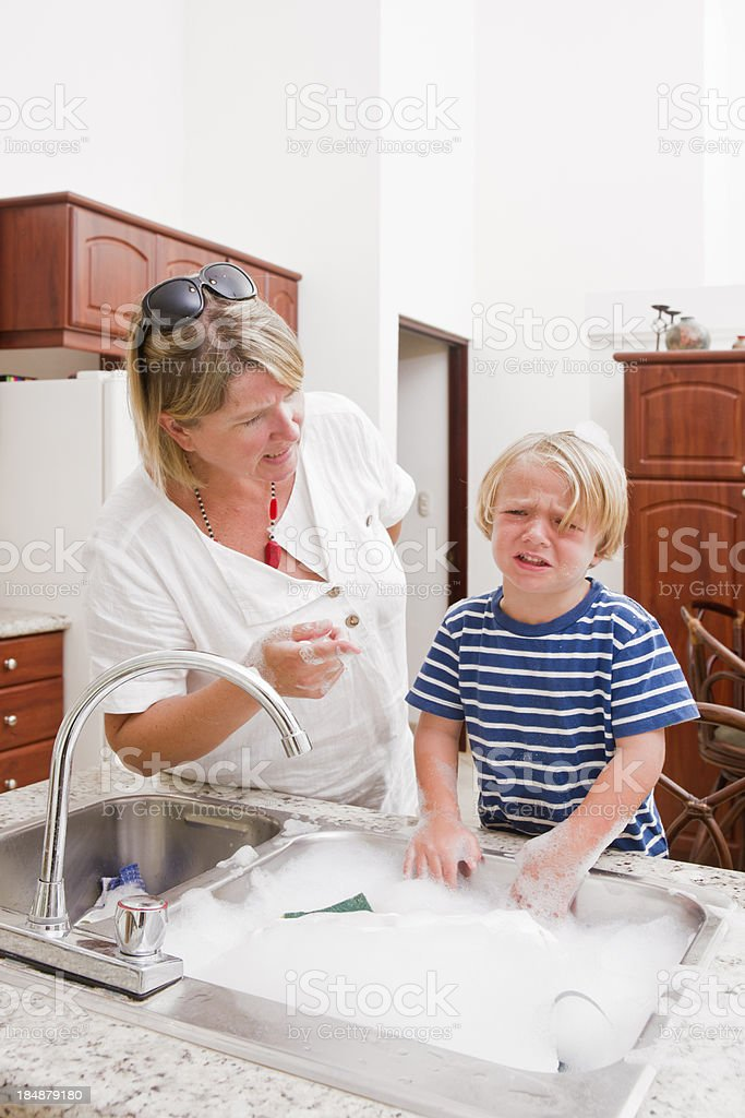 Mother arguing with her son stock photo