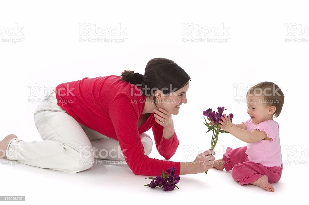 Mother Baby Flower Fun royalty-free stock photo