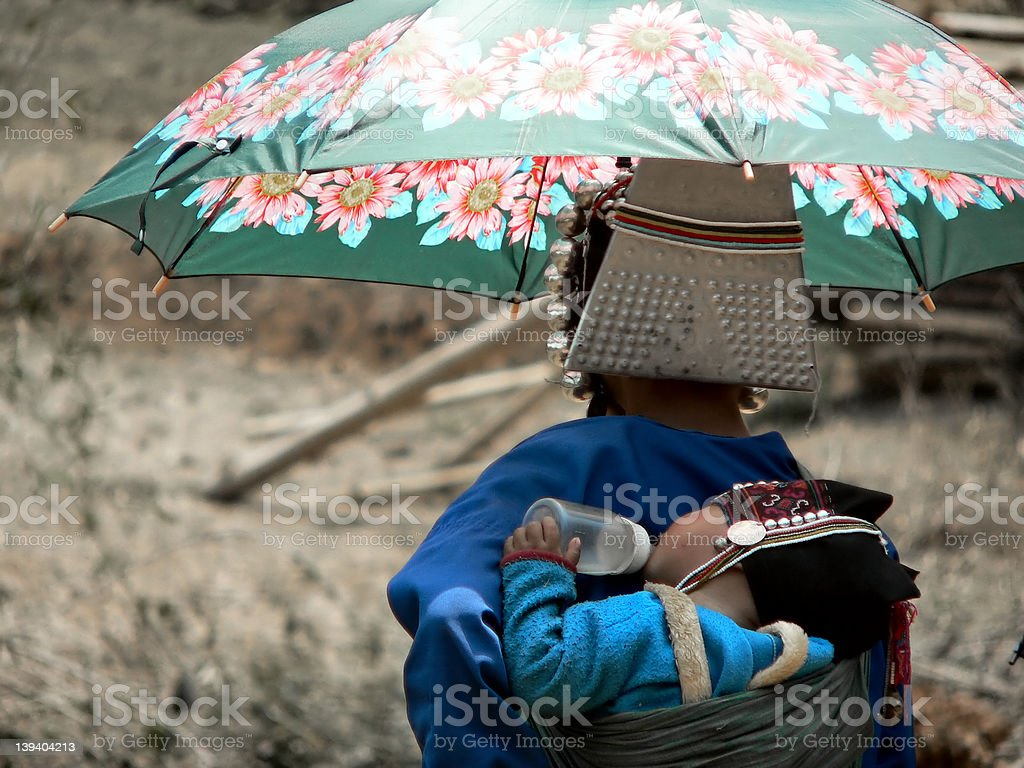 Mother & baby from Akha Hill Tribe stock photo