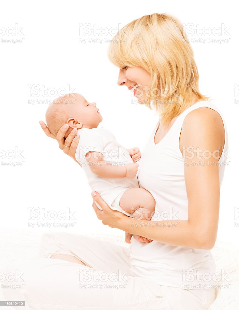 Mother Baby Newborn Family Portrait, Parent New Born Kid, White stock photo
