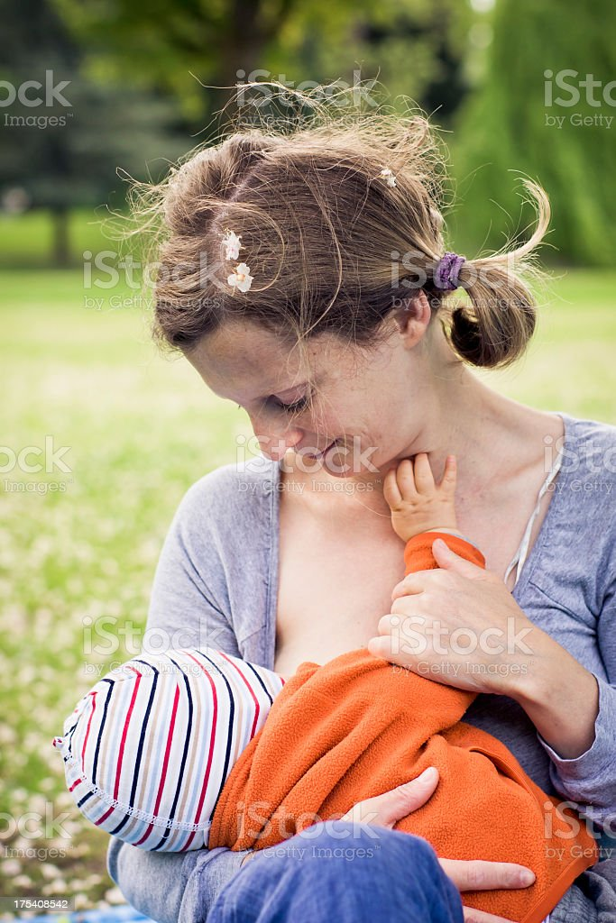 Mother Breastfeeding Baby stock photo
