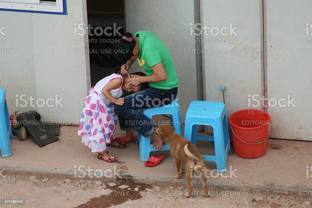Madre, figlio e cane foto stock royalty-free