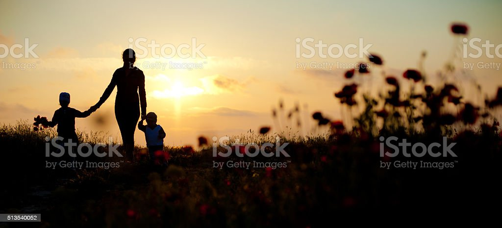 mother, children, family, sea, sunset, flowers, spring,   silhouette,  beautiful, women stock photo
