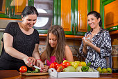 Mother, daughter and aunt have fun in the kitchen