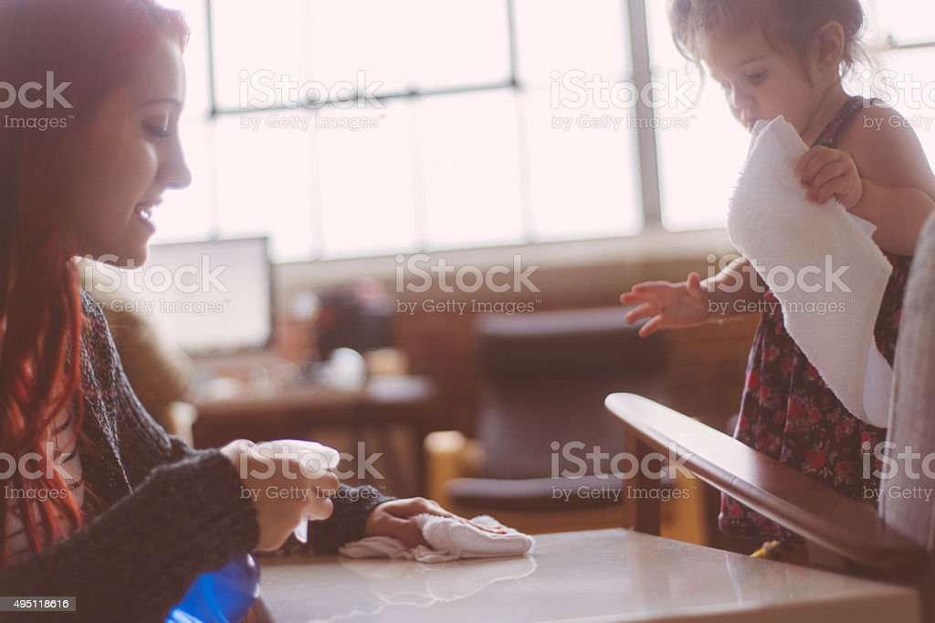 Mother Daughter Cleaning stock photo