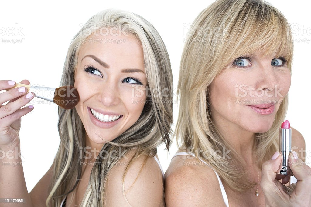 mother daughter make over royalty-free stock photo