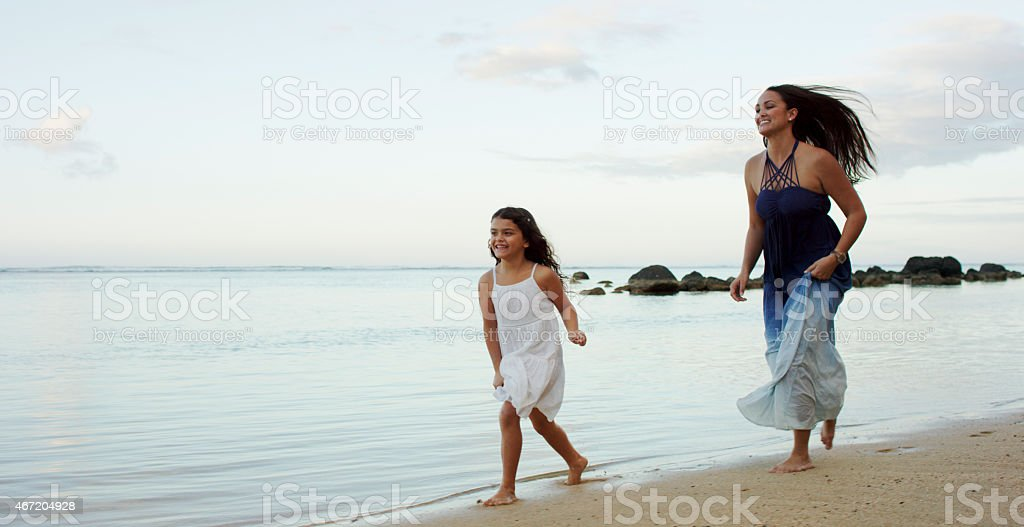 Mother & Daughter on Vacation stock photo
