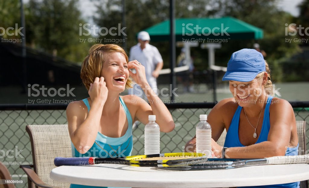 mother daughter tennis players doubles partners stock photo