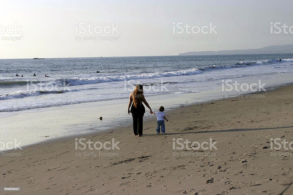 Mother Daughter Walking on Beach royalty-free stock photo