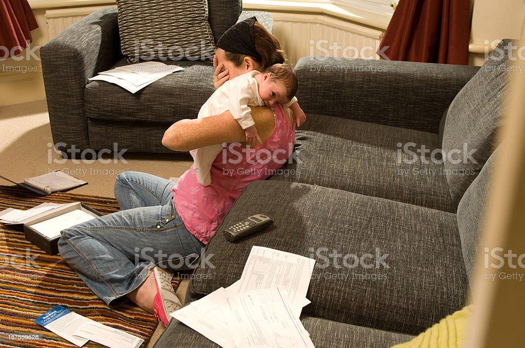 mother despair stock photo