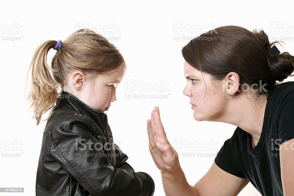 Mother discipling her child royalty-free stock photo