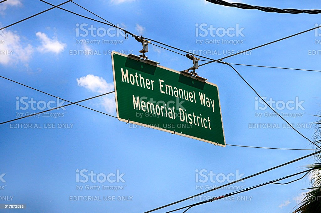 Mother Emanuel Way Memorial District overhead sign in Charleston, SC stock photo